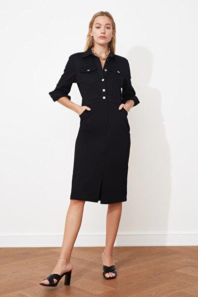 Siyah Düğmeli Elbise TWOSS21EL0748