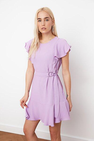 Lila Kemerli Volanlı Elbise TWOSS21EL0386