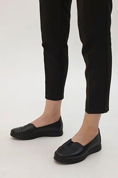 Meyza Kadın Hakiki Deri Comfort Ayakkabısiyah