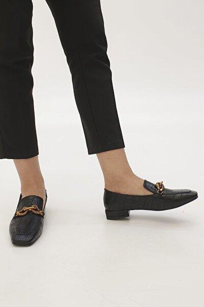 Kadın Siyah Croco Loafer Ayakkabı Alva