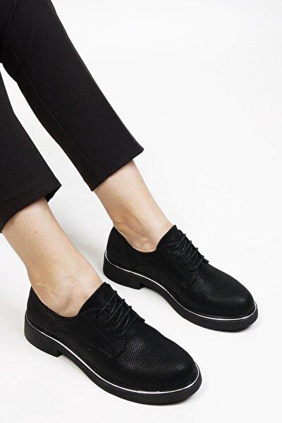 Kadın Siyah Petek Oxford Ayakkabı Terva
