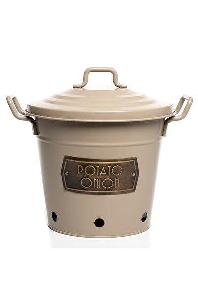 Galvaniz Paslanmaz Patates Soğan Kovası Krem