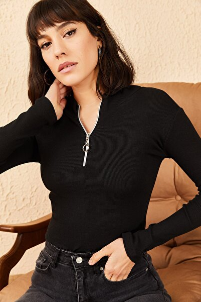 Kadın Fermuarlı Kaşkorse Bluz