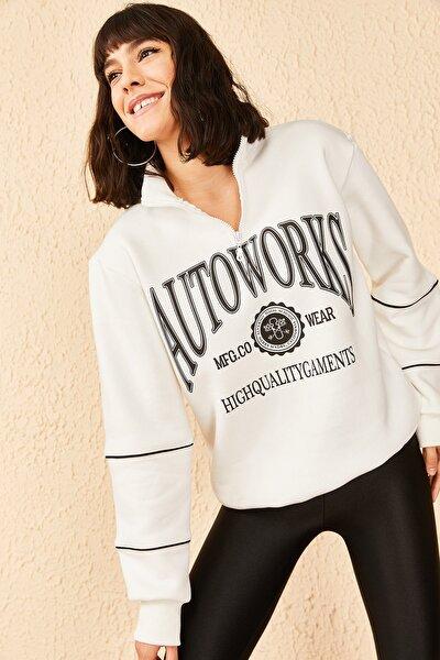 Kadın Fermuarlı Autowooks Baskılı Sweatshirt