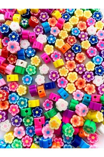 Polimer Kil Fimo Renkli Çiçek Figür Boncuk (50 Adet)