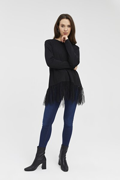 Kadın Siyah Dantel Detaylı Örme Bluz
