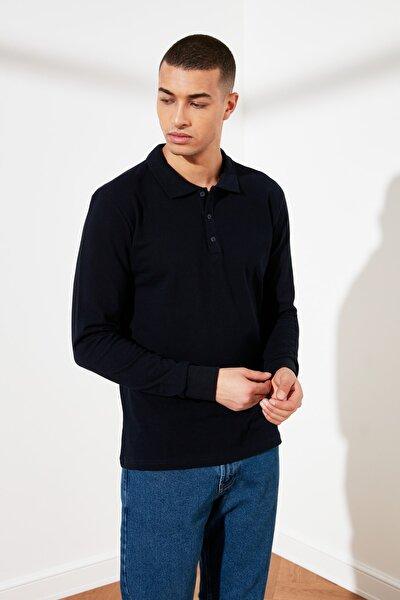 Lacivert Erkek Uzun Kollu Regular Fit Polo Yaka T-shirt TMNSS21PO0003