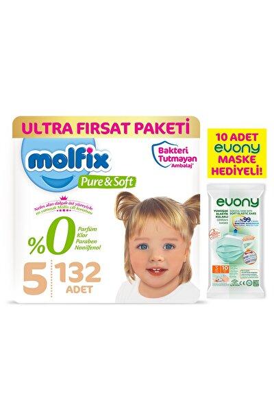 Pure&soft Bebek Bezi 5 Beden Junior Ultra Fırsat Paketi 132 Adet + Evony Maske 10'lu Hediyeli