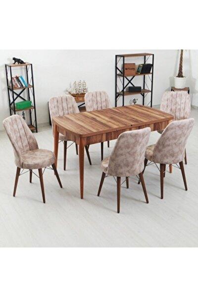 Inci Serisi 6 Kişilik Masa Takımı Kelebek Açılır Yemek Masası + 6 Adet Sandalye