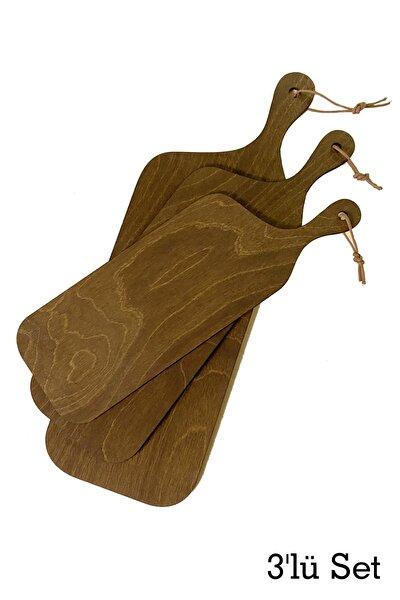 Ahşap Sunum Tepsisi, 3'lü Set, Tepsi Seti, Kahverengi, Huş Ağacı