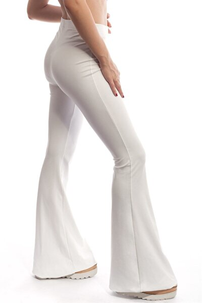 Kadın Yüksel Bel ispanyol Paça Pantolon - Beyaz