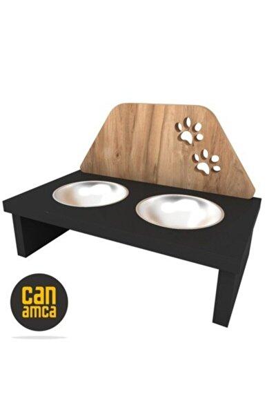 Pati Desenli Paslanmaz Çelik Kaseli Ahşap Özel Tasarımlı Kedi Mama Ve Su Kabı -