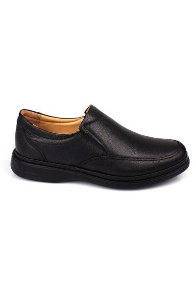 Erkek Siyah İç Dış Hakiki Deri Ful Ortopedik Jel Taban Günlük Ayakkabı