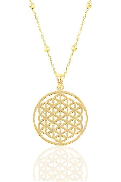 Gümüş Altın Yaldızlı Top Top Zincirli Yaşam Çiçeği Kolye