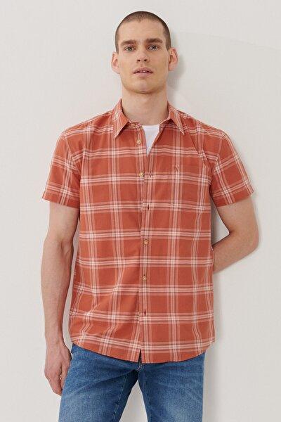 Erkek Kırmızı Regular Fit Kısa Kol Gömlek