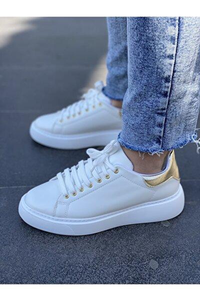 Alexa Altın Desenli Beyaz Kadın Sneaker