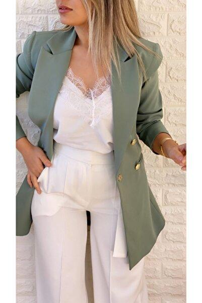 Uzun Gold Düğmeli Blazer Ceket Mint