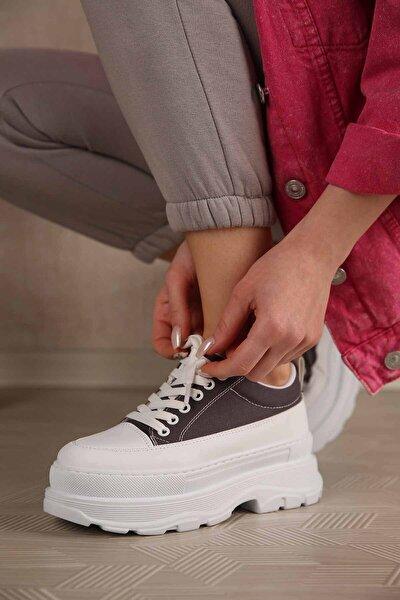 Kadın Gri Keten Yüksek Tabanlı Spor Ayakkabı