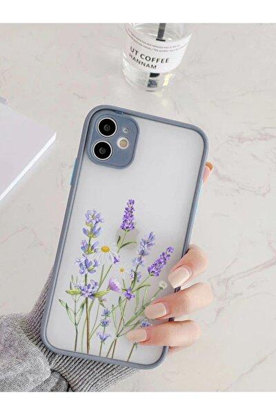 Iphone 11 Uyumlu Füme Kamera Lens Korumalı Lavender Desenli Lüx Telefon Kılıfı