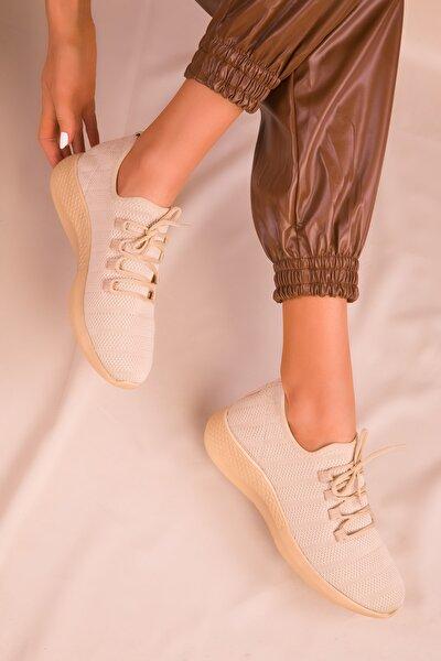 Bej Kadın Sneaker 16092