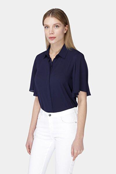 Kadın Lacivert Kolları Dökümlü Bluz