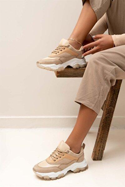 Palvina Bej Mat Bağlı Kalın Taban Kadın Sneakers Spor Ayakkabı