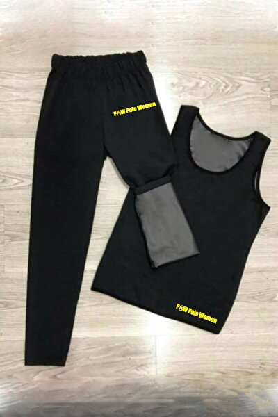 Unisex Sauna Terleme Sweat Polymer Üst Alt Atlet Tayt Termal Takım