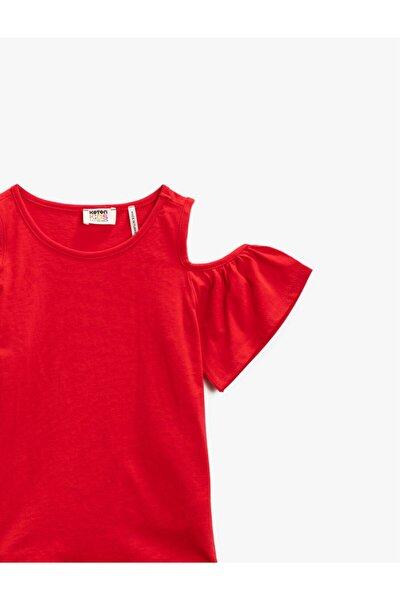 Kız Çocuk Kırmızı Bisiklet Yaka Omuz Detaylı Pamuklu Tişört