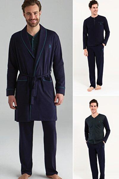 Erkek Yeşil 2 Uzun Kollu Pijama + 1 Sabahlık