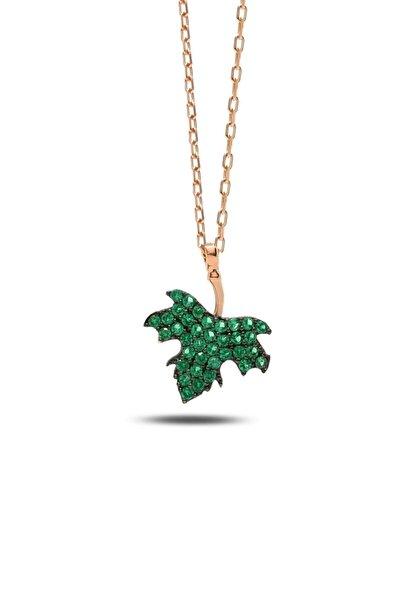 Yeşil Taşlı Çınar Yaprağı Gümüş Kadın Kolye