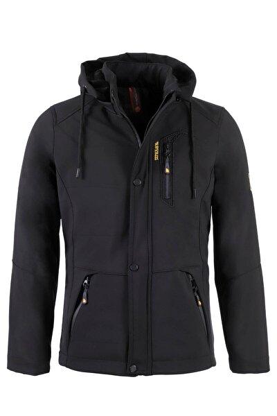 Erkek Siyah Kapüşonlu Softshell Su Ve Rüzgar Geçirmez Cep Detaylı Içi Kürklü Kapüşonlu Mont