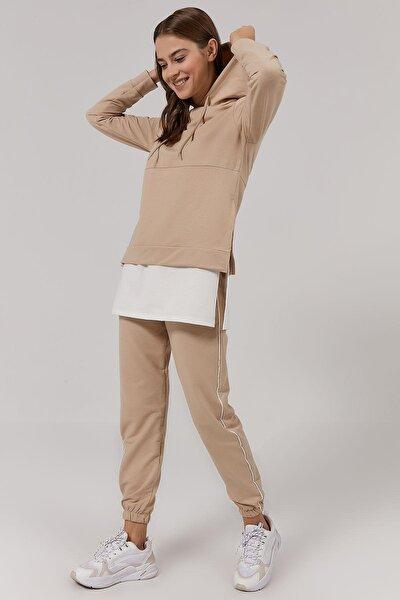 Kadın Bej Etek Ucu Tişört Detaylı Örme Eşofman Takımı P20W-2140