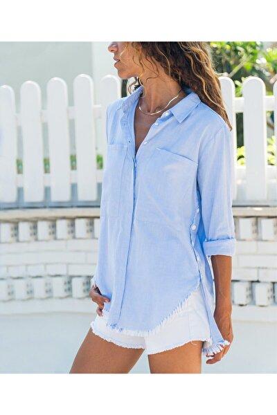 Kadın Mavi Yanı Düğmeli Eteği Püsküllü Gömlek