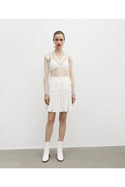 Dantel Şeritli Transparan Bluz