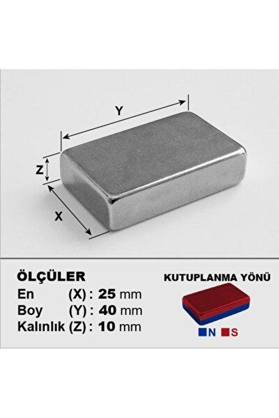 Boy 40mm X En 25mm X Kalınlık 10mm Güçlü Neodyum Mıknatıs