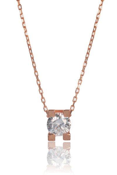 Kadın Rose 925 Ayar Gümüş  Tek Taşlı Kolye