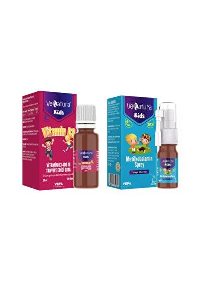 Çocuklar İçin B12 Vitamini 5 ml Sprey + D3 Vitamini 400 Iu 20 ml Damla