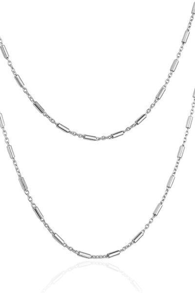 Kadın Gümüş Rengi Şarnel Zincir Kolye