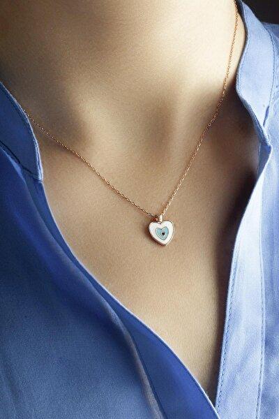 Kadın Mavi Mineli Kalp Kolye -rose