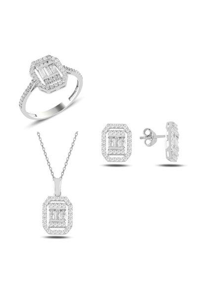Gümüş Pırlanta Montür Baget Taşlı  Set 3'lü
