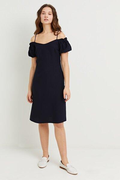 Kadın Lacivert Askılı Omzu Açık Elbise
