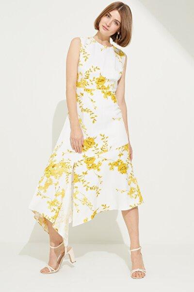 Kadın Emp.Sari Desenli Asimetrik Elbise
