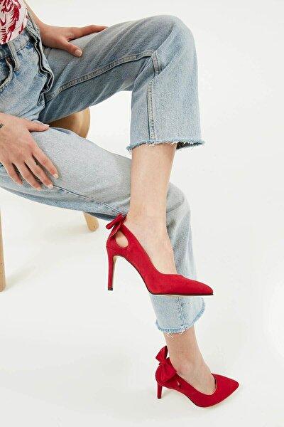 Eliza Kırmızı Fiyonklu Topuklu Ayakkabı