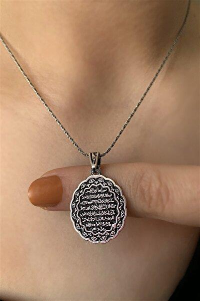925 Ayar Ayete'L Kürsi Gümüş Kolye Ucu Ve Zinciri Uzunluk 45 Cm