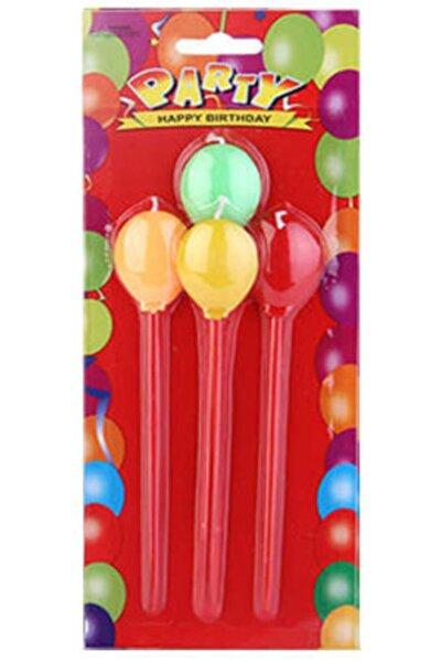 Balonlu Karışık Renkli Mum 4 Adet