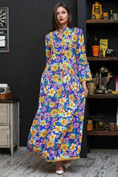 Kadın Mavi Patı Düğmeli Ponponlu Papatya Desenli Uzun Dokuma Elbise M10160000EL95943
