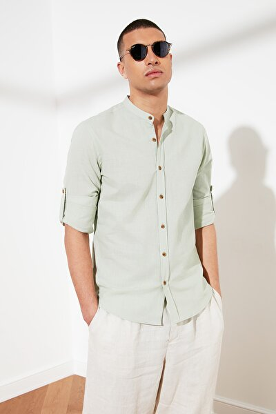 Yeşil Erkek Basic Hakim Yaka Apoletli Slim Fit Gömlek TMNSS20GO0188