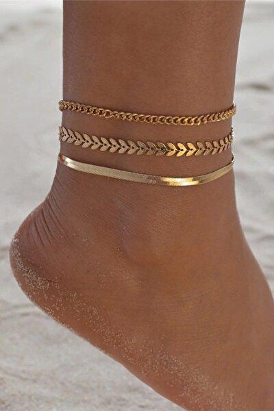 Kadın Gold Kaplama Ayak Bilekliği Bileklik Halhal Altın Hal Hal 3lü