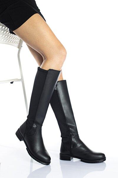 Kadın Siyah Dalgıç Kumaş Dizaltı Çizme