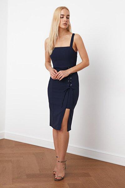Lacivert Kuşgözü Detaylı Elbise TWOSS19EL0079